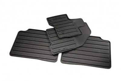 Ford DA8Z-7413086-BA Floor Mats - All-Weather Thermoplastic Rubber, Black Dual Button, 4-Piece Set
