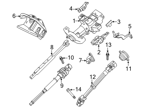 2014 Ford Expedition EL Limited 8 Cyl 5.4 L FLEX STEERING COLUMN ASSEMBLY
