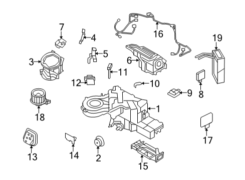 2012 Ford Expedition EL Limited 8 Cyl 5.4 L FLEX EVAPORATOR & HEATER COMPONENTS - Diagram 2