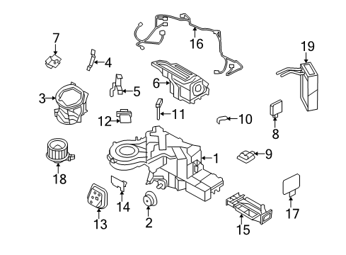 2012 Ford Expedition EL Limited 8 Cyl 5.4 L FLEX EVAPORATOR & HEATER COMPONENTS - Diagram 1