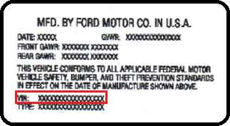 Ford VIN Numbers